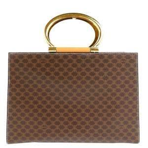 Celine Brown/Beige Vintage Macadam Canvas Shoulder Bag