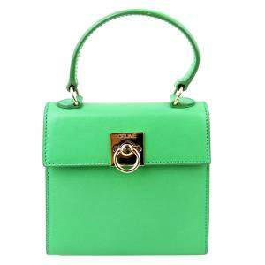حقيبة سيلين كيلي جلد أخضر بيد علوية