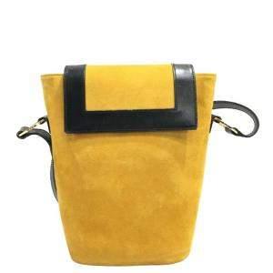 Celine Yellow Suede Bucket   Shoulder Bags