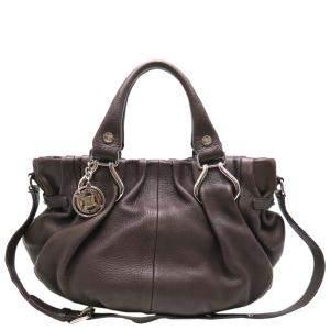Celine Dark Brown Leather Pillow Shoulder Bag