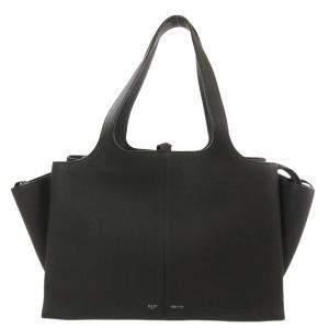 حقيبة كتف سيلين جلد أسود ثلاثي اللون
