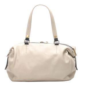 Celine White Leather   Shoulder Bag
