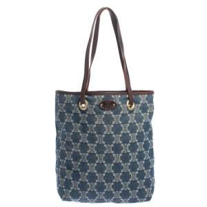 Celine Blue Macadam Denim and Leather Tote