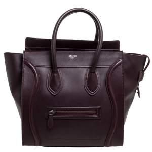 Celine Burgundy Leather Mini Luggage Tote