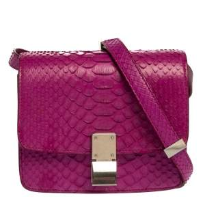 Celine Purple Python Small Classic Box Flap Bag
