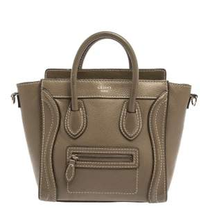 Celine Khaki Leather Nano Luggage Tote