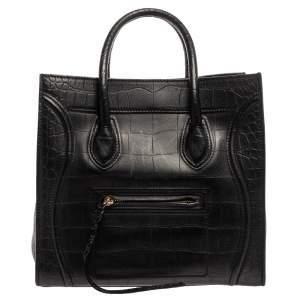حقيبة يد سيلين ميديوم فانتوم لاغيدج جلد نقش تمساح أسود