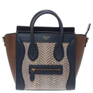 Celine Tri Color Python and Leather Nano Luggage Tote