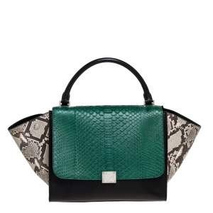 Celine Multicolor Python and  Leather Medium Trapeze Bag