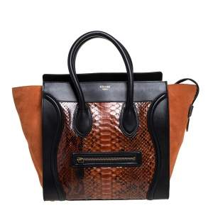 Celine Multicolor Python, Suede and Leather Mini Luggage Tote