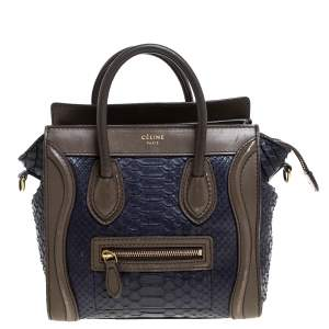 Celine Dark Purple/Taupe Python and Leather Nano Luggage Tote