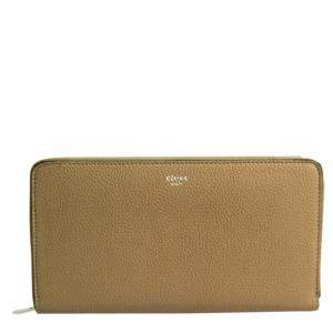 Celine Beige Leather Large Ziped Multifunction Wallet