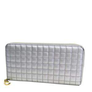 Celine Silver Quilted Leather C Charm Large Zipped Wallet