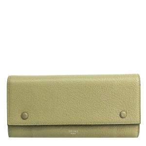 Celine Beige/Red Bicolor Leather Large Flap Multifunction Wallet