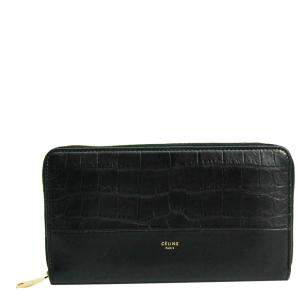 Celine Black Embossed Leather Large Zipped Multifunction Wallet