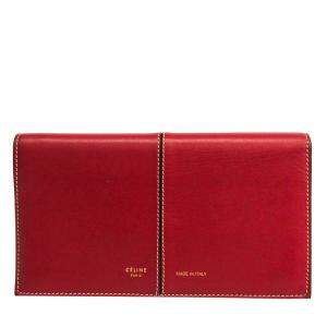 Celine Red Leather Large Multifunction Wallet