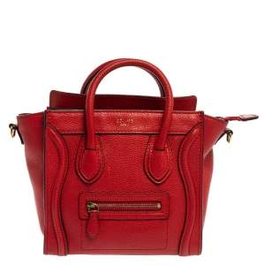Celine Red Leather Nano Luggage Tote