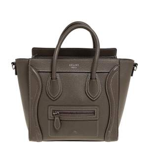 Celine Grey Leather Nano Luggage Tote