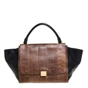 Celine Black/Brown Leather and Python Medium Trapeze Bag