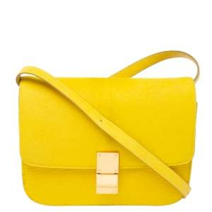 Celine Yellow Calfhair and Leather Medium Classic Box Shoulder Bag