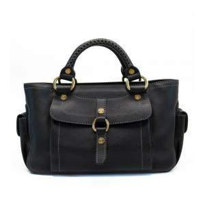 Celine Black Leather Satchel Bag