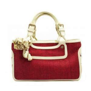 Celine Red/Ivory Straw Leather Satchel Bag