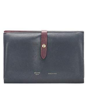 Celine Black Leather Small Multifunction Strap Wallet