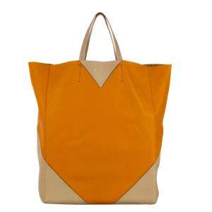 Celine Orange/White Leather Vertical Coeur Cabas Tote Bag