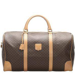 Celine Beige/Brown Macadam Coated Canvas Travel Bag