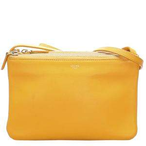 Celine Yellow Leather Small Trio Shoulder Bag