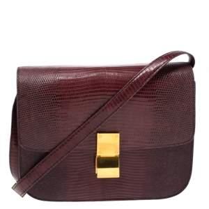 Celine Brown Lizard Medium Classic Box Shoulder Bag