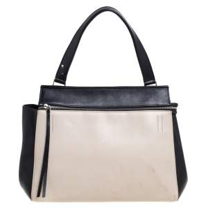 Celine Black/Off White Leather Medium Edge Top Handle Bag