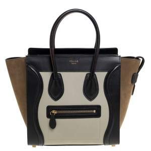 Celine Tri Color Nubuck and Leather Micro Luggage Tote