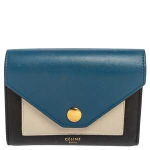 Celine Tricolor Leather Flap  Multifunction Compact Wallet