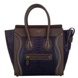 Celine Purple Mini Python Luggage Tote Bag