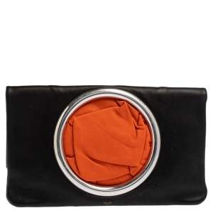 Celine Black Nappa Leather Eyelet Pouch