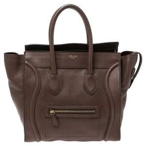 Celine Brown Leather Mini Luggage Tote