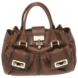 Celine Macadam Brown Leather Satchel