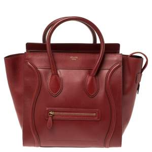 Celine Red Leather Mini Luggage Tote