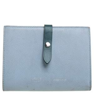 Celine Blue/Green Leather Multifunction Strap Wallet