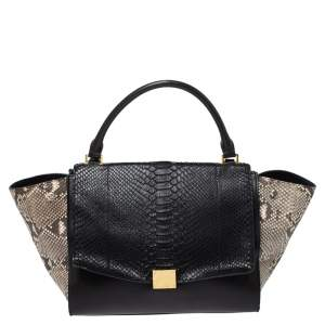 Celine Multicolor Leather and Python Medium Trapeze Bag