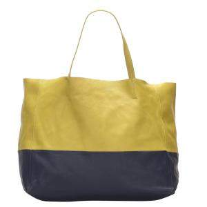 Celine Yellow and Blue Leather Cabas Bag