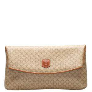 Celine Brown Coated Canvas Macadam Clutch Bag