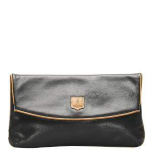 Celine Black Leather Macadam Clutch Bag