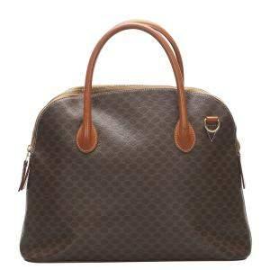 Celine Brown Coated Canvas Macadam Bag