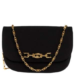 Celine Black Fabric Chain Pochette Bag