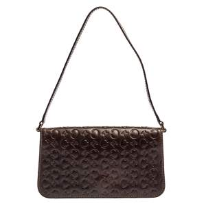 Celine Dark Brown Monogram Leather Pochette Bag