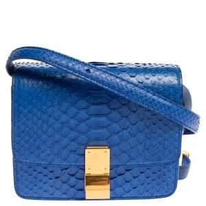 Celine Blue Python Small Classic Box Flap Bag