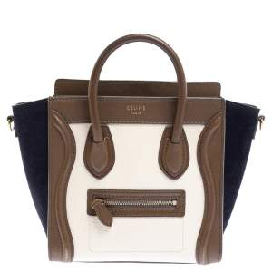 Celine Multicolor Leather and Suede Nano Luggage Tote