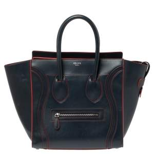 Celine Blue Leather Mini Luggage Tote
